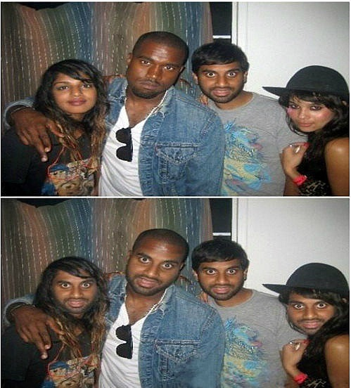face swap, photoshop, indian guy with kanye west