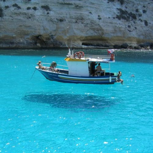 optical illusion of a boat that looks like it is floating
