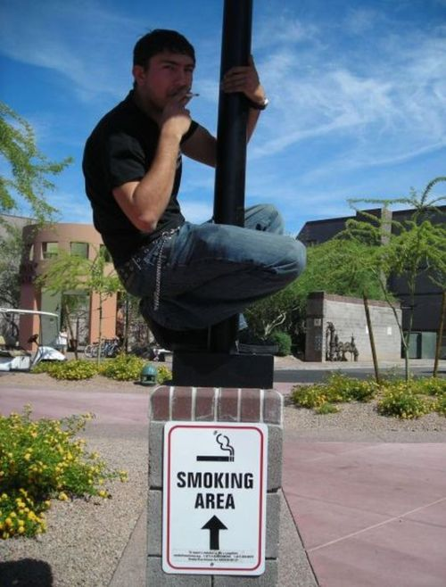 smoking areas are getting smaller by the year, literal, sign