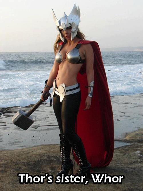 thorns sister whor, super hero costume, woman, thor, meme