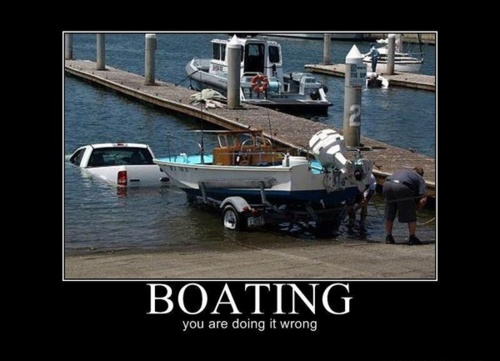 man drives truck into lake with boat behind him, fail, boating, you are doing it wrong, motivation