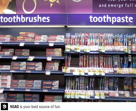 One job, toothpaste, toothbrush