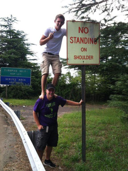 no standing on shoulder, literal rebel, sign, win
