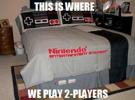 nintendo, bed, sheet, pillow, comforter, remote