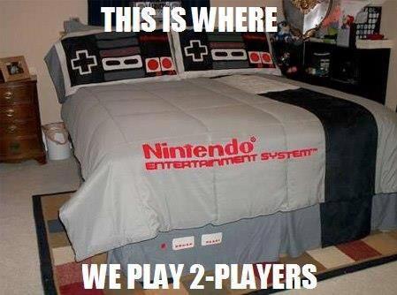 nintendo, bed, sheet, pillow, comforter, remote