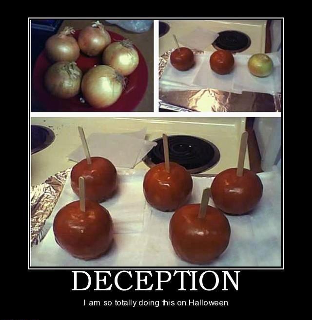 trick, scam, caramel, apple, onion