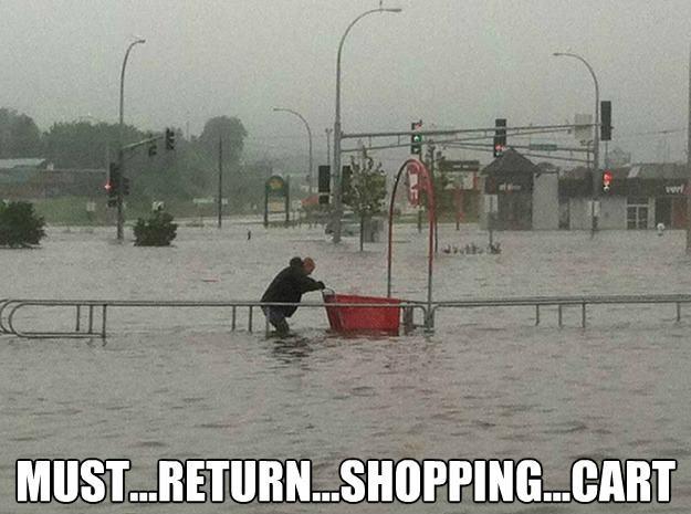 must return shopping cart, meme, flood