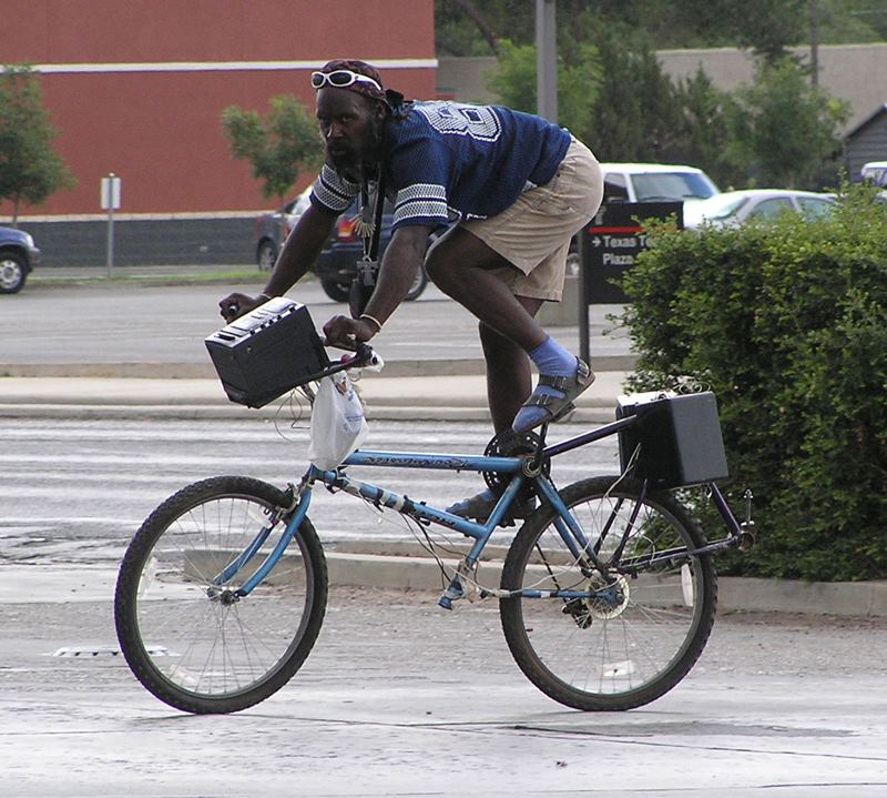 bicycle, wtf, upside down, stereo system, black guy