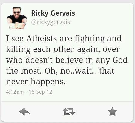I see atheists are fighting and killing each other again, over who doesn't believe in any God the most, oh no wait that never happens