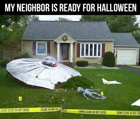 my neighbour is ready for halloween, alien crash site on lawn, crime scene do not cross