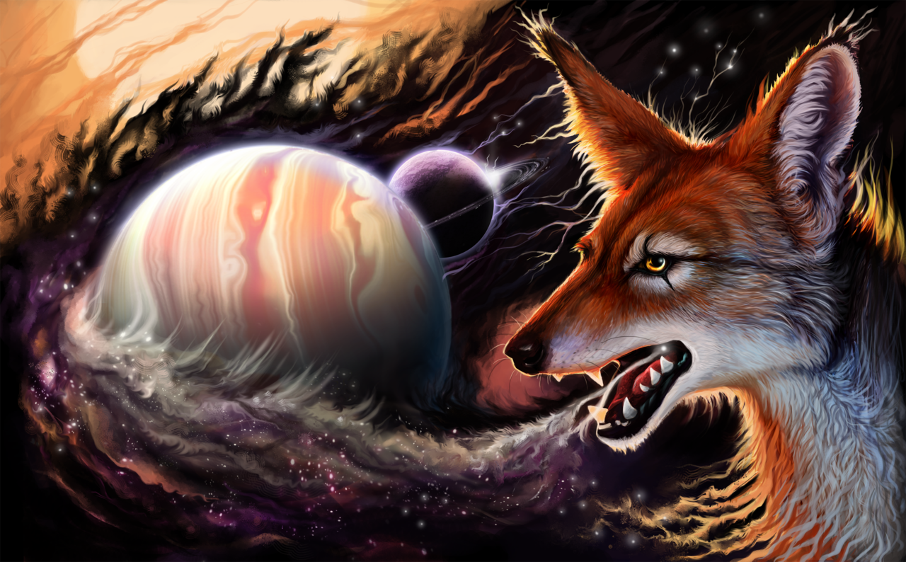 fox, psychedelic, art, cg, planet, space