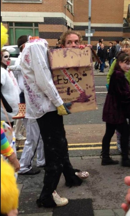 costume, head, win, box, zombie
