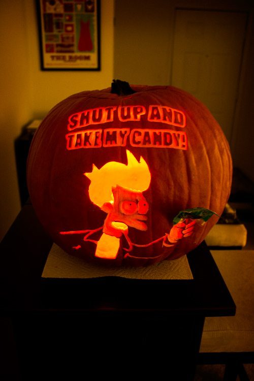 shut up and take my candy, fry pumpkin carving, meme