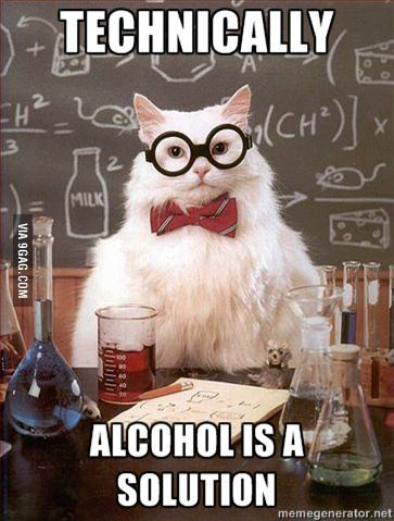 technically alcohol is a solution, science cat, meme
