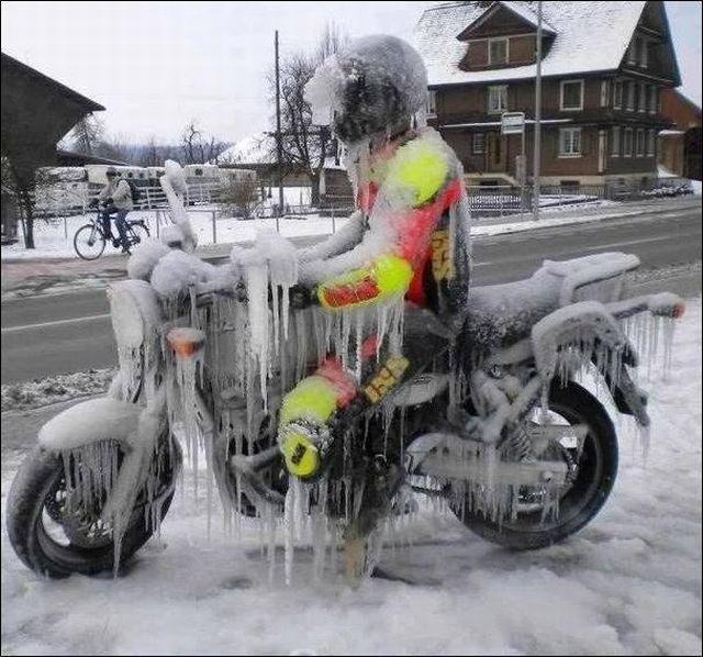 bike, frozen, icicle