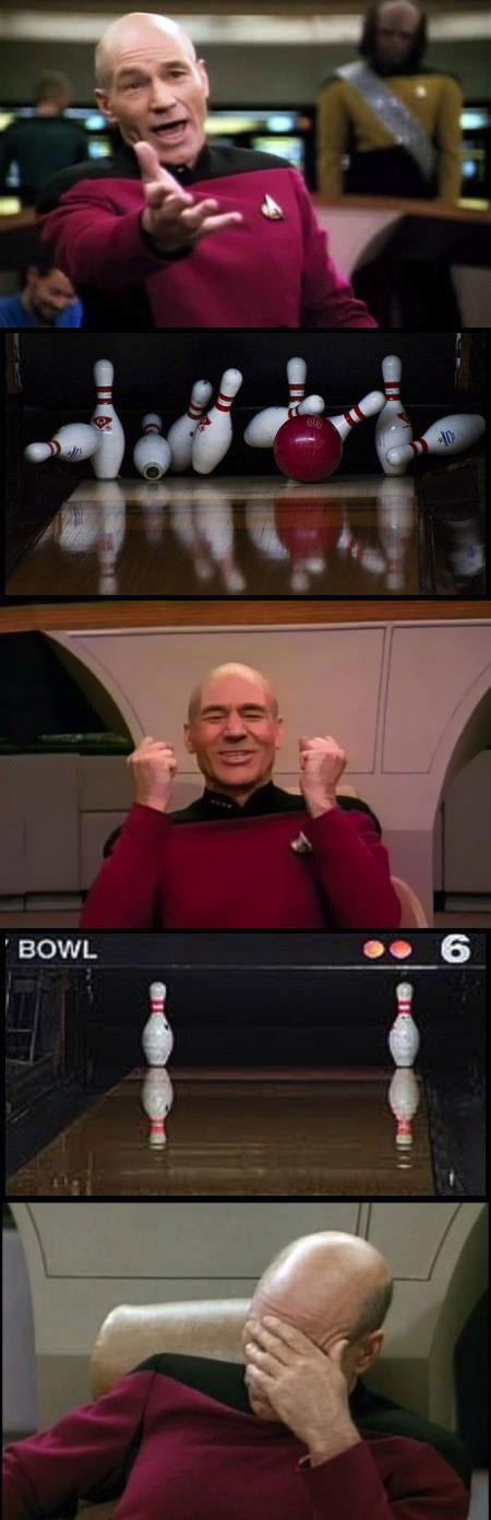 picard meme goes bowling, split, facepalm