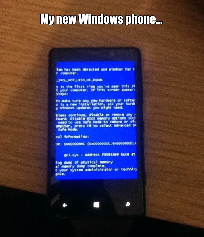 my new windows phone, blue screen of death