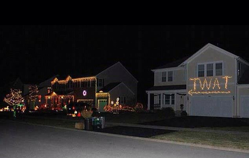 christmas, lights, twat, diss