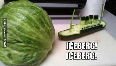 iceberg, lettuce, wordplay, sculpture, cucumber, vegetable