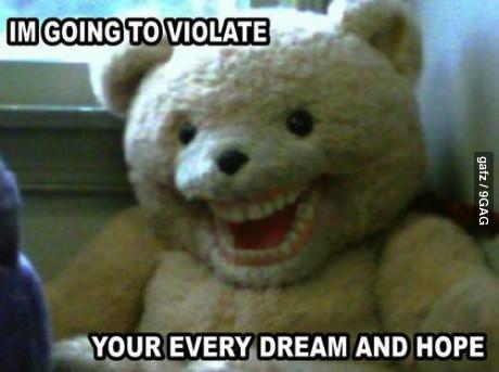 bear, stuffed animal, teddy, wtf, scary, teeth
