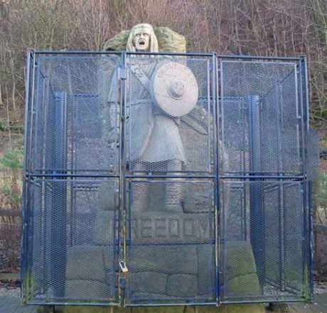 cage, fence, freedom, irony, statue
