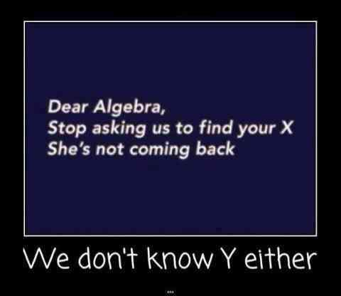 dear algebra stop asking us to find your x, she's not coming back, we don't know y either, motivation