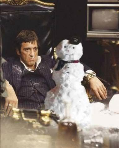 Scarface, snowman, Christmas, cocaine