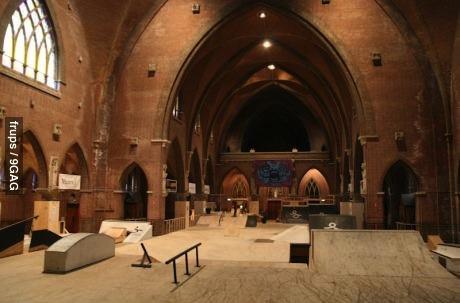 skate park, church, skateboard, sport