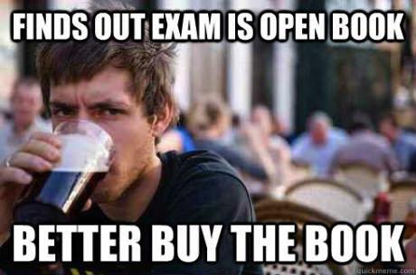 meme, college freshman, textbook, exam