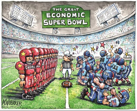 the great economic Super Bowl, usa, china, football, cartoon, commentary