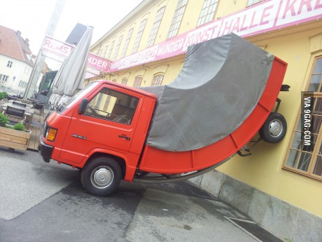 wtf, truck, wall, bent