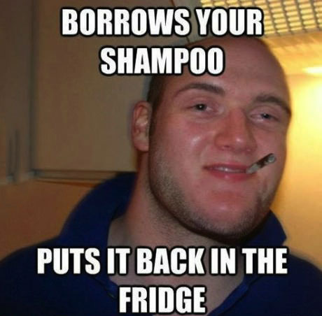 borrows your shampoo, puts it back in the fridge, good guy stoner steve