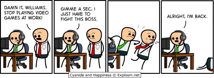 Cyanide and happiness, comic, lol, video game, boss