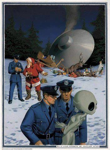 aliens, christmas, santa claus, crash, police, cartoon