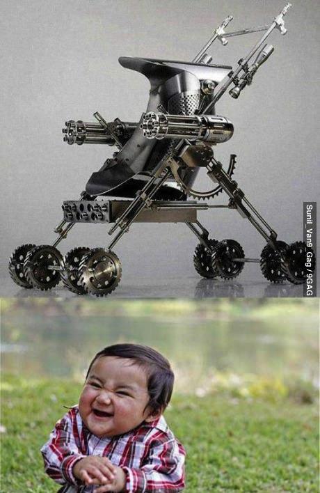 stroller, gun, chain