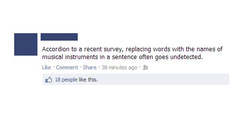 facebook, one liner, accordion, survey, lol