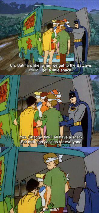 batman, scooby doo, comic, milk, snack