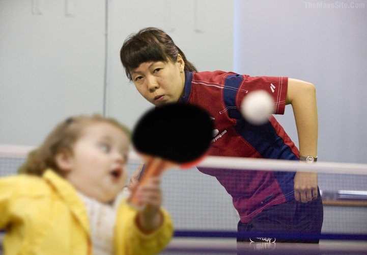 chubby bubbles girl playing ping pong