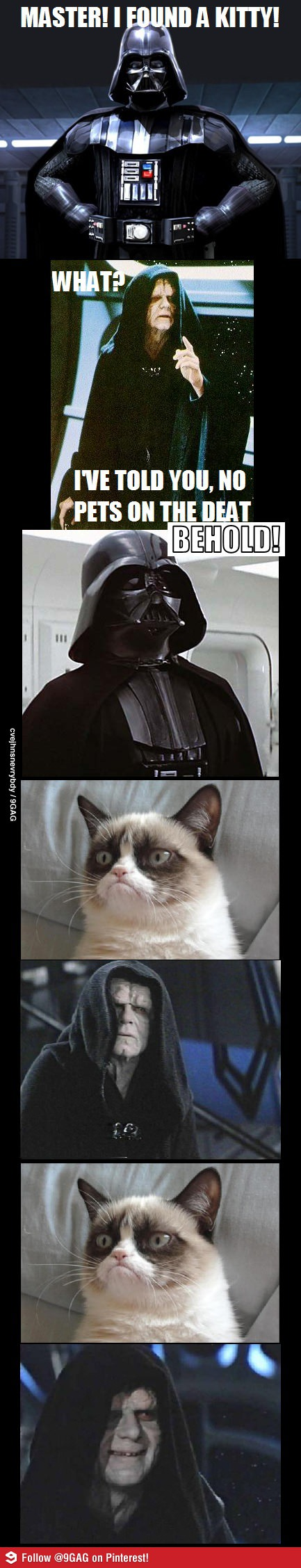 master! I found a kitty, what? I told you no pets on the deat-, behold!, emperor palpatine is happy