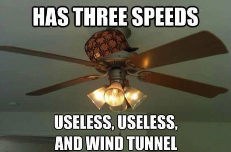 has three speeds, useless, useless, and wind tunnel