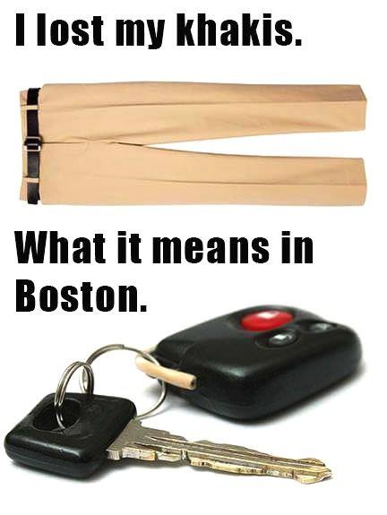 boston, accent, khakis, car keys