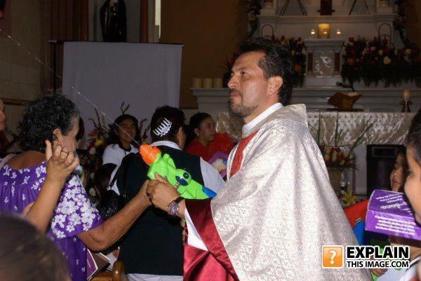 super soaker, gun, priest, holy water