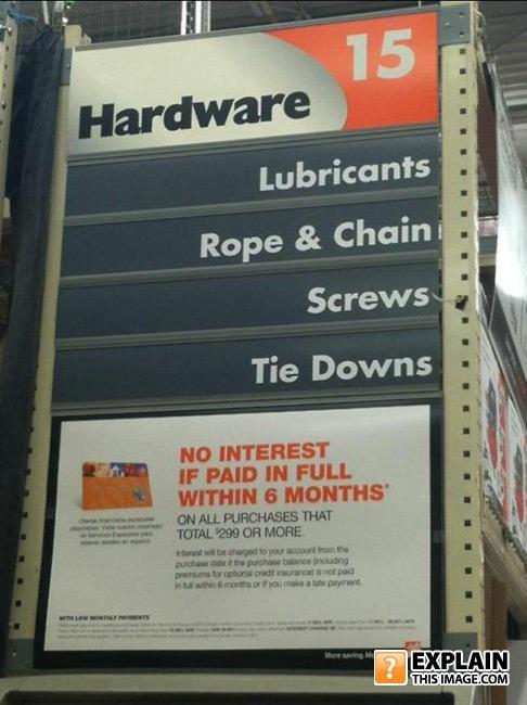 innuendo, bondage, hardware, sign, lubricant, rope, chain, screws, tie downs