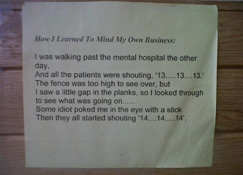 mind your own business, counting, mental hospital