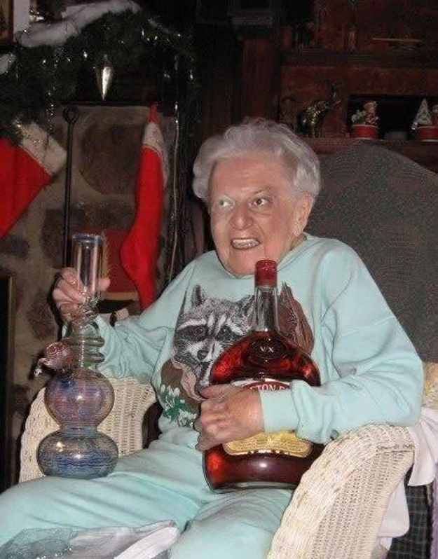 grand mother holding huge Appleton rum bottle and bong, wtf, grandma,