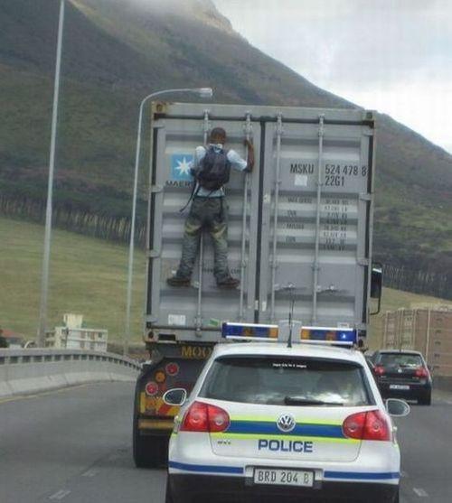 cop, man truck, wtf, hitch hiker