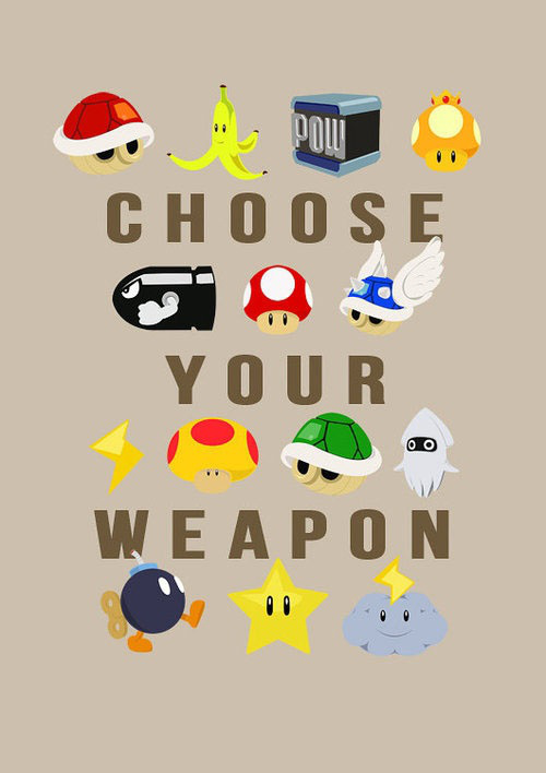 mariokart, weapon, banana, shell, mushroom, star, bomb, cloud, bullet