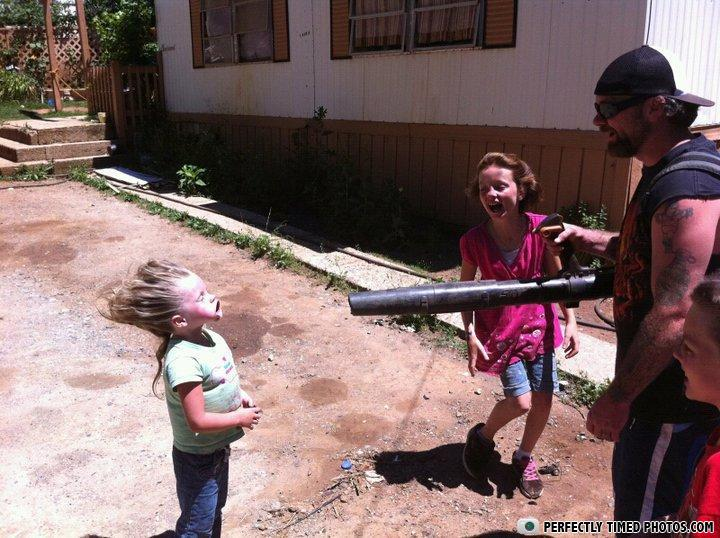 kid, leaf blower, parenting, fail