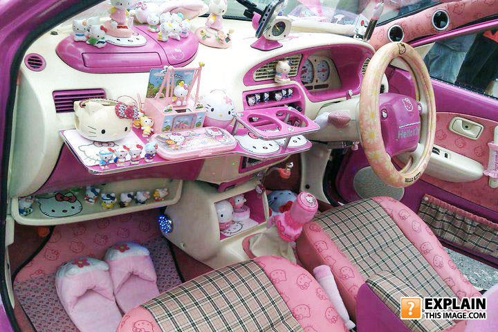 car, pink, obsession, hello kitty, fail, gay