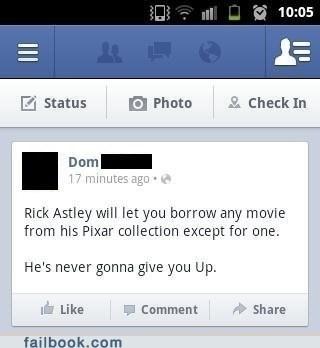 facebook, status, rick astley